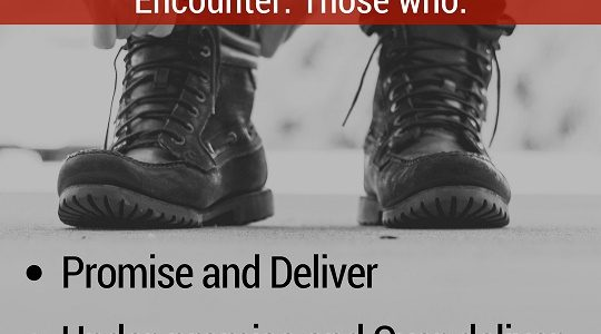 3 Types of People You Will Encounter. Those who: Promise-and-Deliver-Under-promise-and-Over-deliver-Over-promise-and-Under-deliver