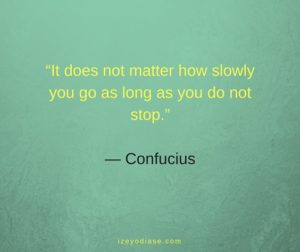 It does not matter how slowly you go as long as you do not stop. ― Confucius
