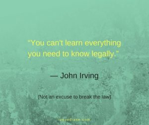 You can't learn everything you need to know legally. ― John Irving
